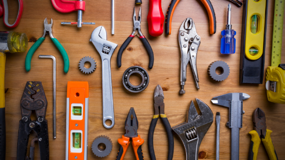 Selection of tools on a table