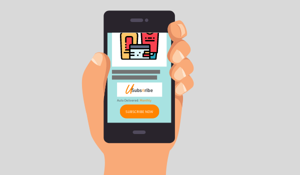Illustration of hand holding a phone showing U-Subscribe logo and product page example