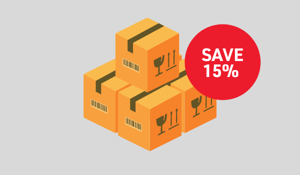 Illustration of boxes with a red circle stating Save 15%